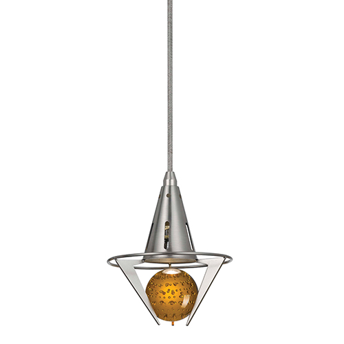 Brushed Steel and Oil Rubbed Bronze One-Light Mini Pendant with Amber Glass