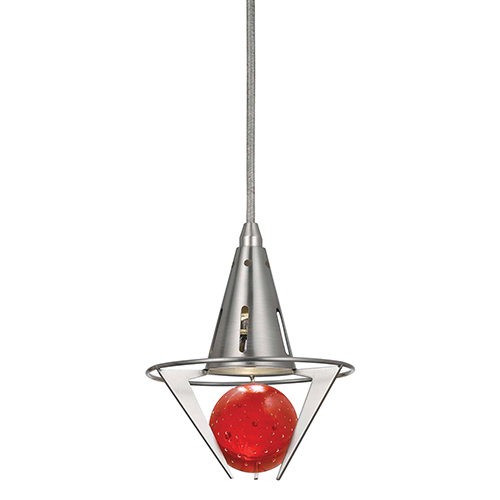 Brushed Steel One-Light Mini Pendant with Red Glass