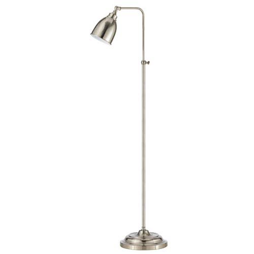 Brushed Steel Metal Pharmacy Floor Lamp with Adjustable Pole and Swivel Head