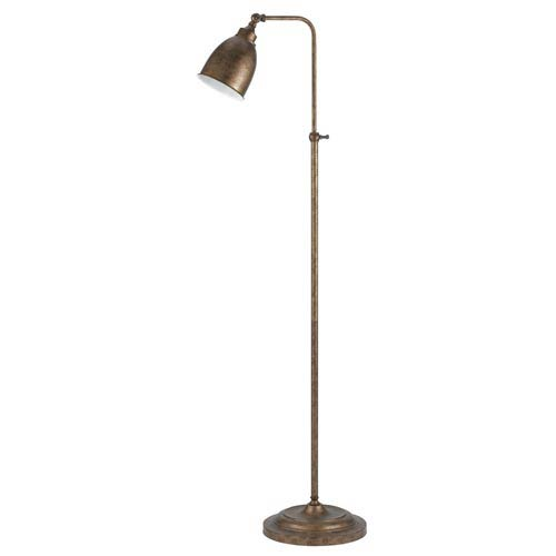 Rust Metal Pharmacy Floor Lamp with Adjustable Pole and Swivel Head
