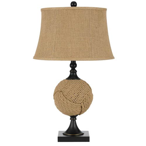 Burlap One-Light Ball of Yarn Table Lamp