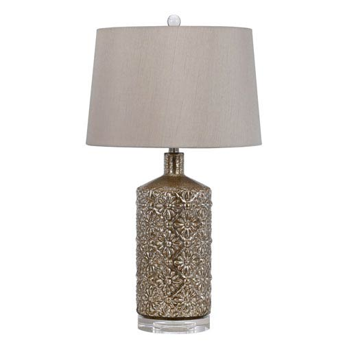 Distressed Mirror One-Light Table Lamp with Fabric Shade