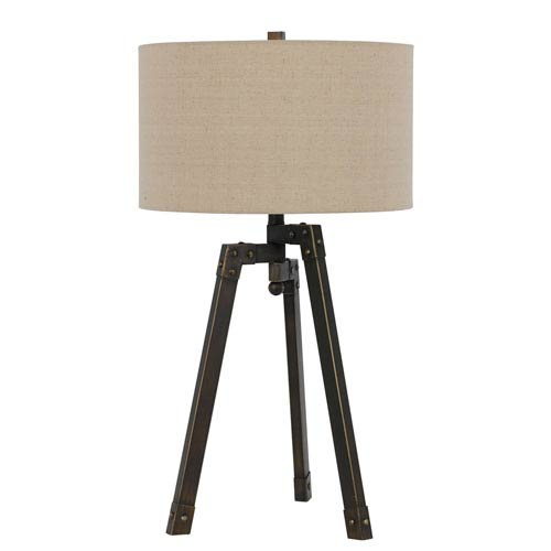 Tripod Iron One-Light Table Lamp with Linen Shade
