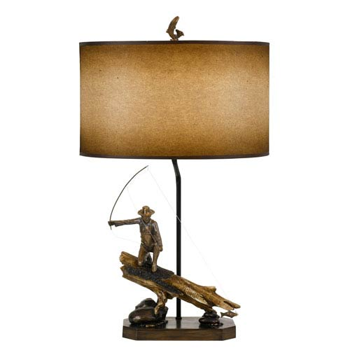 Cal lighting lodge cast bronze one light fly fishing fisherman table cal lighting lodge cast bronze one light fly fishing fisherman table lamp aloadofball Gallery