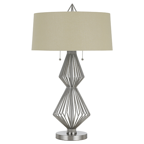 Cal Lighting Brushed Steel Two-Light Table Lamp