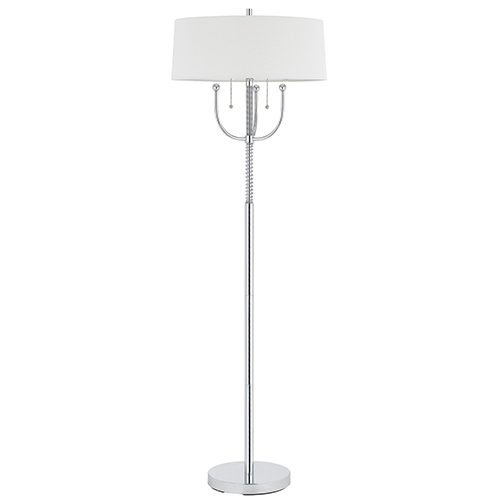 Cal Lighting Chrome 63-Inch Two-Light Floor Lamp