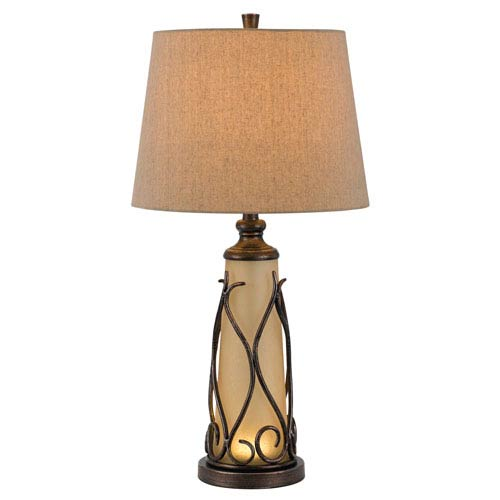 Taylor Iron Table Lamp with LED Night Light with Burlap Shade