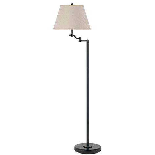 Dana Swing Dark Bronze Arm Floor Lamp with Burlap Shade