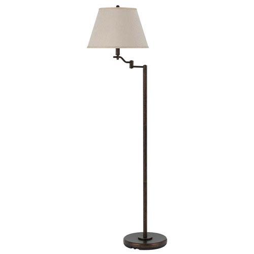 Cal Lighting Dana Rust Swing Arm Floor Lamp with Burlap Shade