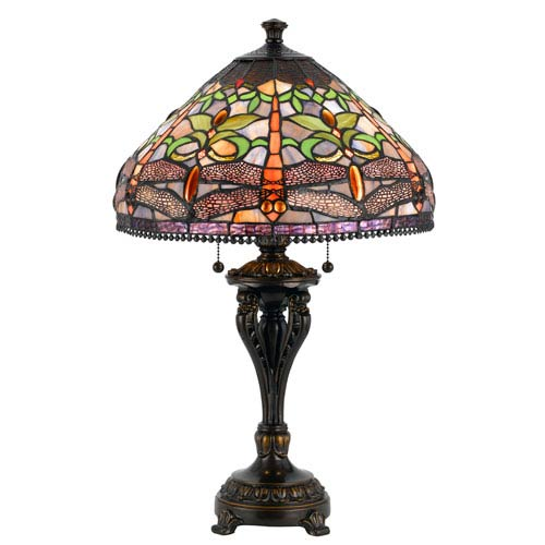 Cal Lighting Tiffany Antique Bronze Table Lamp with Stained Multi-Colored Shade