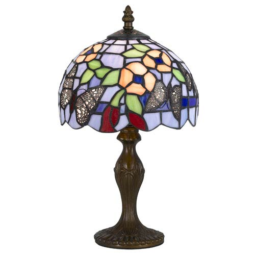 Cal Lighting Tiffany Antique Brass 14-Inch Accent Lamp with Stained Multi-Colored Shade