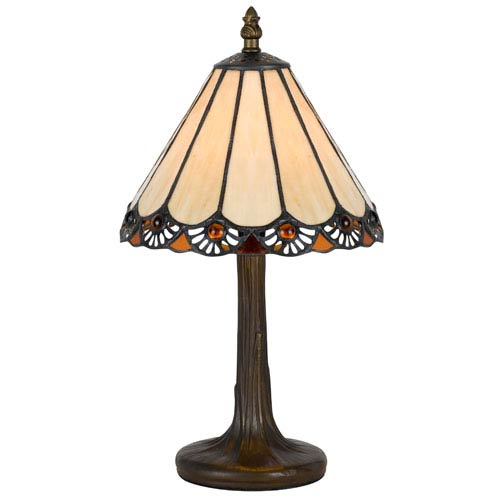 Cal Lighting Tiffany Antique Brass 13.5-Inch Accent Lamp with Stained Multi-Colored Shade