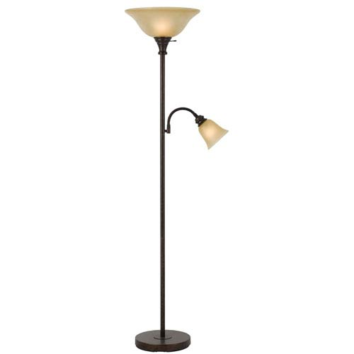 Cal Lighting Rust Metal Torchiere with Gooseneck Reading Lamp with Smokey Gold Shade