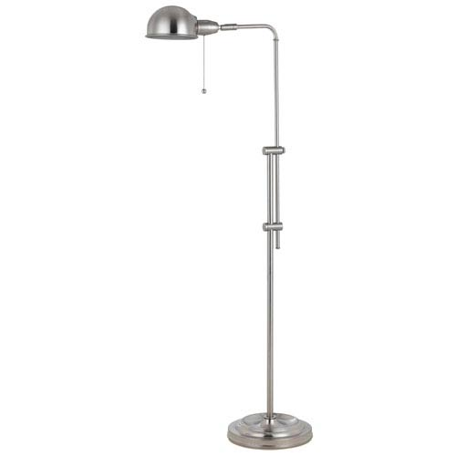 Croby Pharmacy Brushed Steel Floor Lamp with Brushed Steel Shade