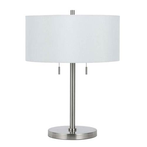 Calais Brushed Steel Metal Table Lamp with White Shade