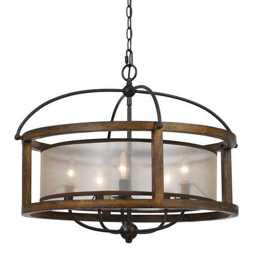 Wood Five-Light Twenty-Five-Inch Pendant