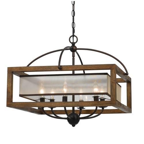 Wood Six-Light Twenty-Inch Pendant