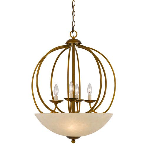 Birdcage Antiqued Gold Four-Light Chandelier