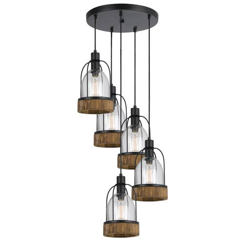 Beacon Wood and Dark Bronze Five-Light Mini Pendant