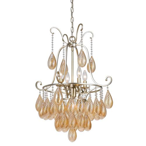 Marion Warm Silver Four-Light Chandelier with Gold Tear Drops