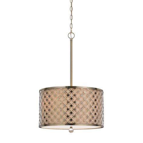 Myrtle Antiqued Brass Three-Light Pendant with Hardback Linen Shade