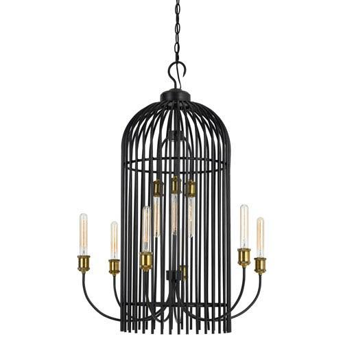 Cal Lighting Dark Bronze and Antique Brass Nine-Light Birdcage Metal Chandelier