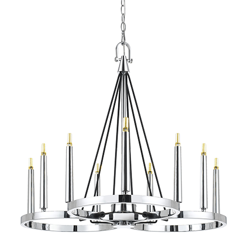 Chrome Nine-Light LED Chandelier