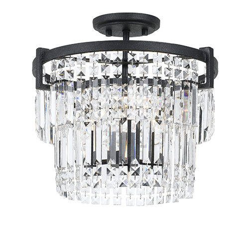 Cal Lighting Crystal Three-Light Semi Flush Mount
