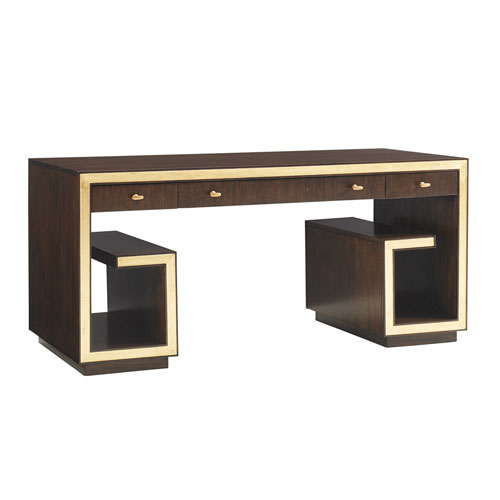 Bel Aire Walnut and Gold Brentwood Writing Desk