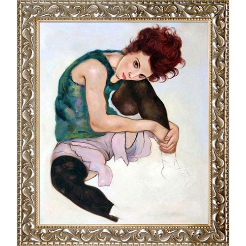 The Artists Wife by Egon Schiele: 25.5 x 29.5-Inch Framed Oil Painting Reproduction