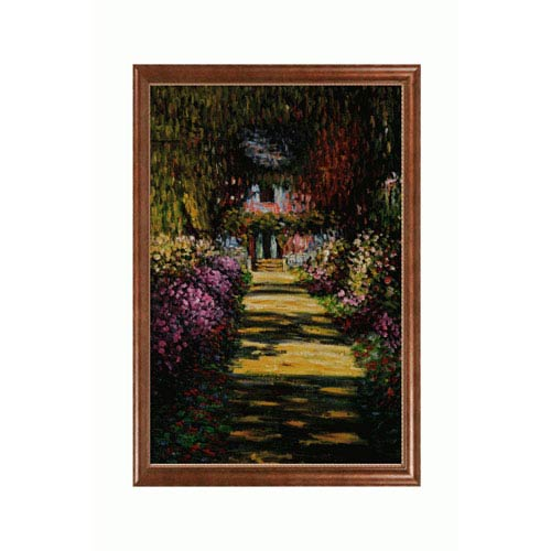 OverstockArt Garden Path at Giverny by Claude Monet: 24 x 36 Oil Painting Reproduction with Verona Cafe Frame