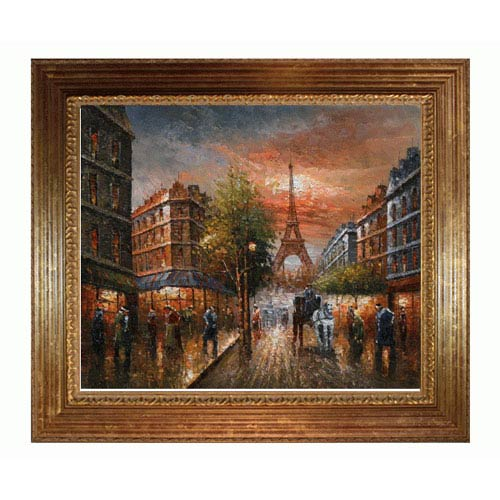 OverstockArt Au Revoir To The Light of Paris II: 24 x 20 Oil Painting Reproduction with Vienna Wood Frame