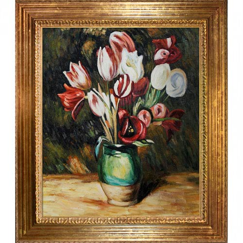 Tulips in a Vase by Pierre-Auguste Renoir: 20 x 24 Oil Painting Reproduction with Vienna Wood Frame