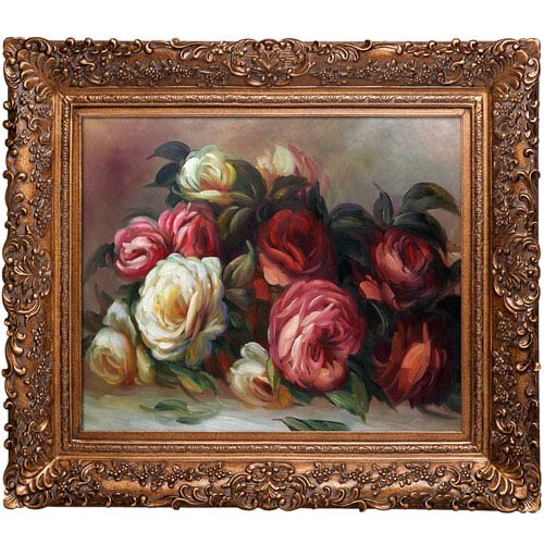 Discarded Roses by Pierre Auguste Renoir: 33.5 x 29.5-Inch Framed Oil Painting Reproduction