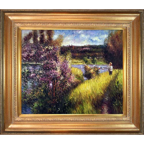 The Seine at Chatou by Pierre Auguste Renoir: 34 x 30-Inch Framed Oil Painting Reproduction