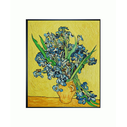 OverstockArt Irises in a Vase by Vincent Van Gogh: 20 x 24 Oil Painting Reproduction with Studio Black Wood Frame