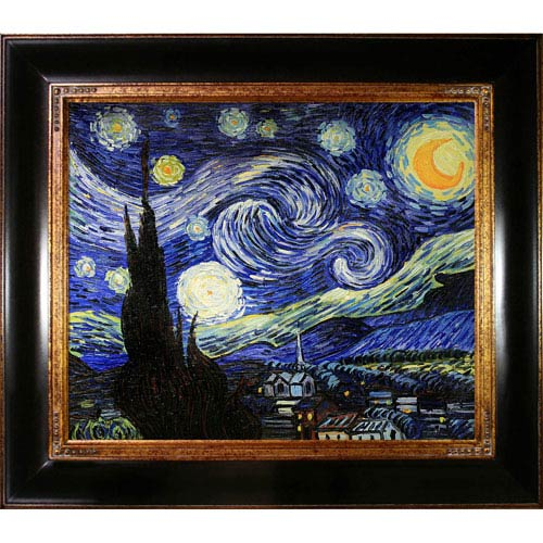 Starry Night by Vincent Van Gogh: 33 x 29-Inch Framed Oil Painting Reproduction