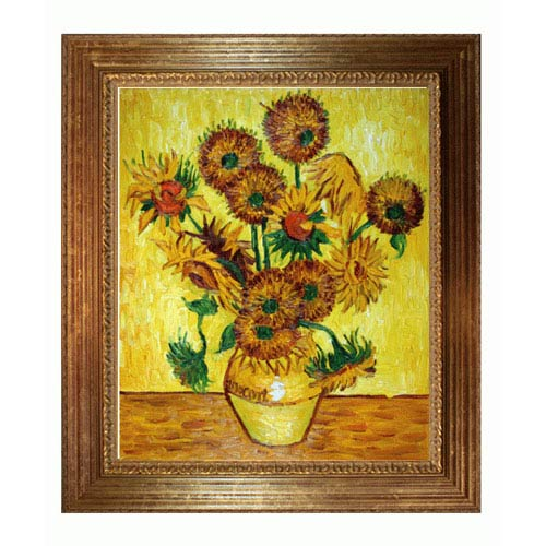 Vase with Fifteen Sunflowers by Vincent Van Gogh: 20 x 24 Oil Painting Reproduction with Vienna Wood Frame