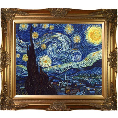 Starry Night by Vincent Van Gogh Metallic Embellished: 32 x 28-Inch Framed Oil Painting Reproduction