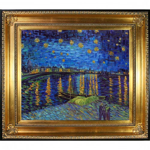 Starry Night Over The Rhone by Vincent Van Gogh Metallic Embellished: 32.5 x 28.5-Inch Framed Oil Painting Reproduction