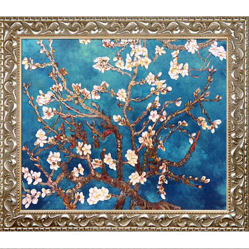Branches of an Almond Tree In Blossom by Vincent Van Gogh Metallic Embellished: 29.5 x 25.5-Inch Framed Oil Painting