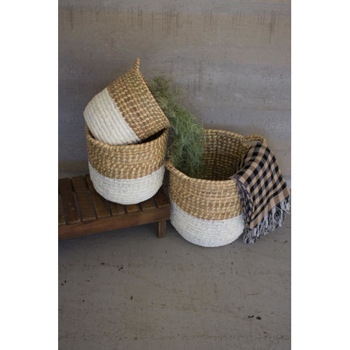 White Dipped Seagrass Hamper with Handle, Set of Three