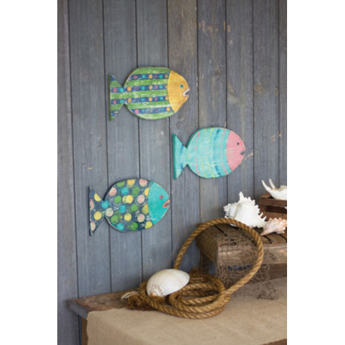 Multi-Colored 7-Inch Wooden Fish Wall Hanging, Set of 3