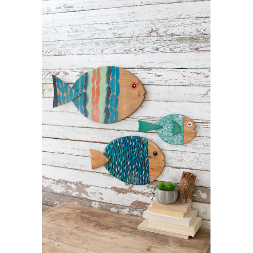 Multi-Colored 23-Inch Wooden Fish Wall Hanging, Set of 3
