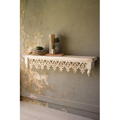 Off White Hand Carved Wooden Wall Shelf