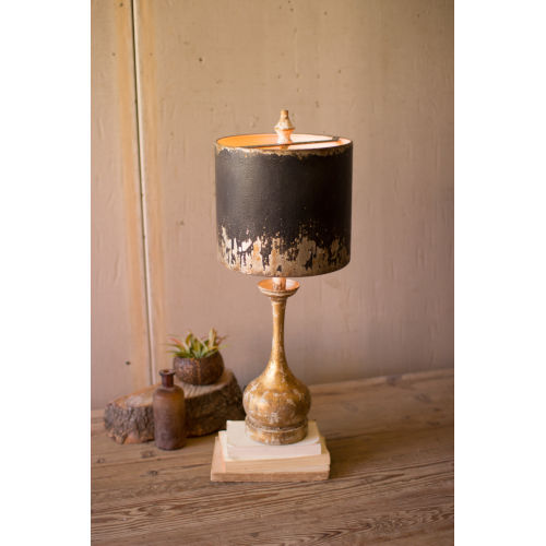Rustic and Antique Gold One-Light Round Wooden Base Table Lamp