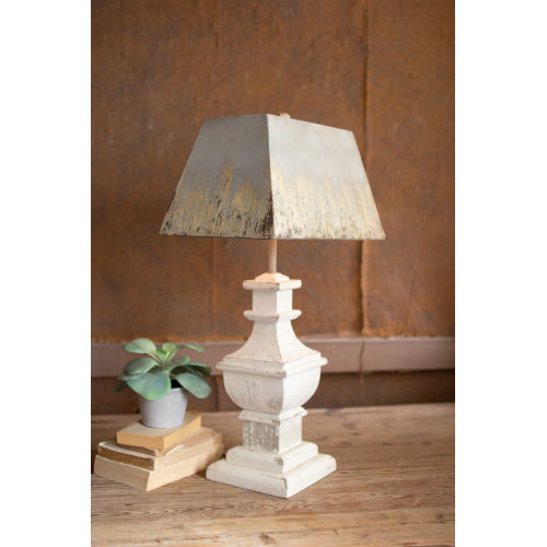 White 29-Inch One-Light Table Lamp with Wooden Base