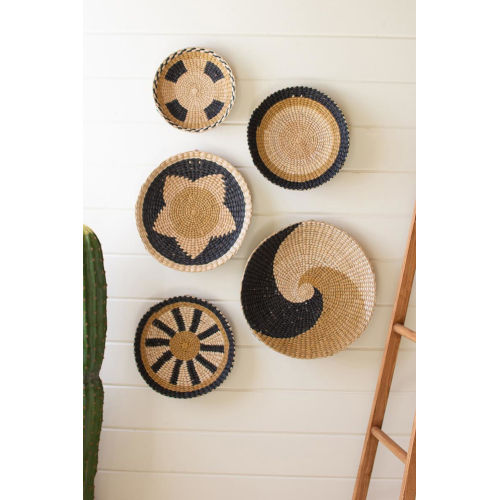 Rattan Wood Round Seagrass Platters, Set of Five