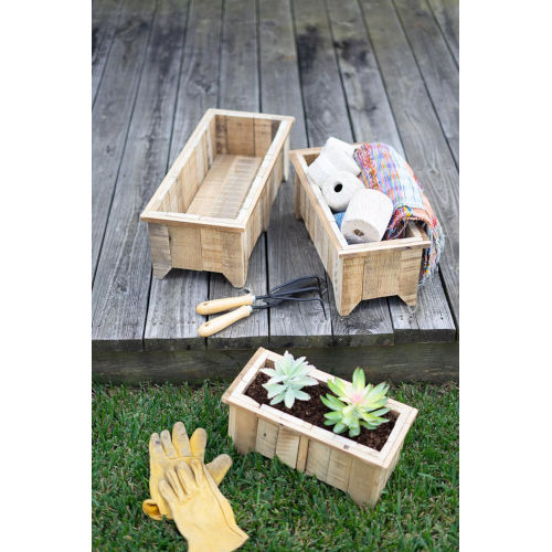 Wooden Rectangle Recycled Wood Planters, Set of Three
