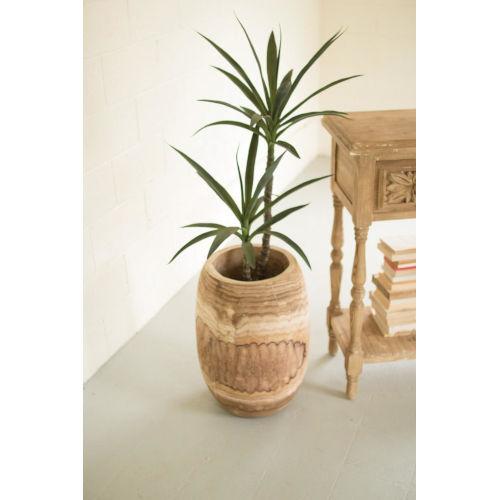 Beige Hand Carved Wooden Urn